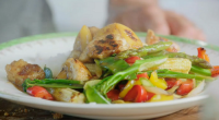Tom Daley and Jamie Oliver served up sweet and sour chicken with rainbow vegetables on Jamie and Jimmy's Friday Night Feast. The ingredients are: 1 x 227 g tin of...