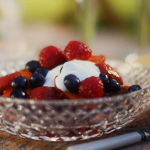 Rosy fruit compote with yoghurt and honey recipe on Mary Berry Everyday