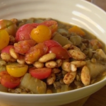 Nigel Slater almond lentil stew with mushrooms and tomatoes recipe