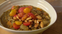 "Nigel Slater served up a whole almond lentil stew with cinnamon, mushrooms and cherry tomatoes on Nigel Slater's Dish of the Day. Nigel says: ""This is a warm and generous..."