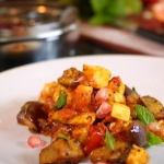 Nigel Slater spiced aubergine and paneer curry recipe on Dish Of The Day