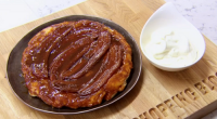John Whaite served up banoffee tarte tatin with bananas and cream on Chopping Block. The ingredients include: 175g caster sugar, cream, butter, 4 bananas and pastry. The recipe can be...