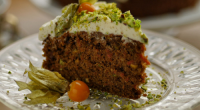 Simon Rimmer served up a spiced carrot cake with cream cheese on Sunday Brunch. The ingredients are: 200ml veg oil, 4 eggs, 350g sugar, 75g chopped pistachios, 12g baking powder,...