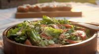 Mary Berry served up a fennel and watermelon salad with goats cheese bruschetta on Mary Berry Everyday. The recipe is available in Mary's book titled: Mary Berry Everyday – available...