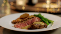 Mary Berry served up fillet steak with a peppercorn and brandy sauce on Mary Berry Everyday. The ingredients are: 4 x 150g centre cut fillet steaks, 50g butter, at room...