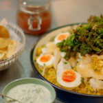 Michel Roux Jr kedgeree with curry and crispy kale recipe on Hidden Restaurants