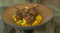 "Angela Hartnett served up marinated lamb chops with paneer and lentils curry on Saturday Kitchen. Angela says: ""Spiced lamb chops and warm paneer make a delicious sharing platter for friends..."