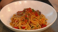 "Angela Hartnett served up spaghetti puttanesca (pasta with anchovy fillets) on Saturday Kitchen. Angela says: ""Puttanesca really packs a punch. It also takes no time to cook, making it perfect..."