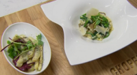 Rosemary Shrager served up a vegetarian risotto Verde with artichoke side salad on Chopping Block. The ingredients include: leeks, onions 300g carnaroli rice, 100ml white wine, 1l vegetable stock, Parmesan...