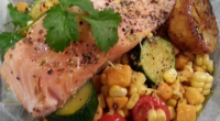 Olympic diver Tom Daley served up Fragrant salmon parcels with cherry tomatoes, corn on the cob and sweet potatoes on today's episode of Lorraine. The ingredients are: 2 tsp olive...