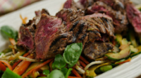 Simon Rimmer served up spiced buttermilk steak on today's episode of Sunday Brunch. The ingredients are: 1.5kg skirt steak -outer membrane removed, Marinade – 500ml buttermilk, 4 sliced jalapenos, chopped...