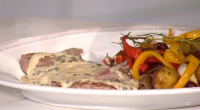 Gino D'Acampo served up steak with brandy, white wine and green peppercorn sauce on today's episode of This Morning. The ingredients are: 2 tsp coarsely ground black pepper, 2 steaks,...