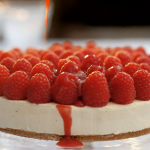 Mary Berry Everyday white chocolate cheesecake with raspberry coulis and digestive biscuits recipe