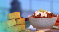 Tilly Ramsay served up a all American chilli with homemade cornbread on This Morning. The ingredients are: 1 onion, 4 garlic cloves, Drizzle of vegetable or sunflower oil, for frying,...