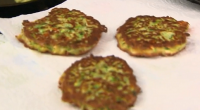 Heather served up spicy courgette fritters with feta cheese on The Hairy Bikers: Mums Know Best. The ingredients are: 3 Courgettes, 1 Onion, 1 Clove of Garlic, 2 Eggs, 100g...