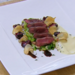 Rosemary Shrager seared wood pigeon breasts recipe on Chopping Block
