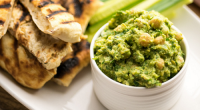Simon Rimmer served up green hummus with flatbread on today's episode of Sunday Brunch. The ingredients are: 400g tinned chick peas, juice and zest of 2 limes, 1 clove garlic,...
