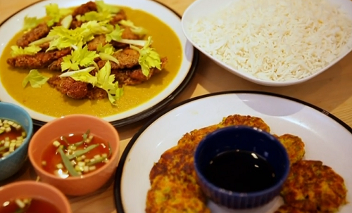 Matt Tebbut served up a Japanese inspired feast that consists of miso soup, vegetable fritters, rice and a katsu vegetarian curry with mushrooms coated in bread crumbs on Save Money:...