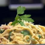 Rosemary Shrager tagliatelle carbonara with garlic bread recipe on Chopping Block