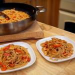 Matt Tebbutt prawn spaghetti with puttanesca sauce recipe on Save Money: Good Food