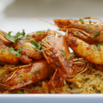 Mary Berry marinated harissa prawns with spiced rice recipe on Mary Berry Everyday