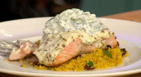 Michael Caines served up Moroccan salmon with saffron couscous on today's episode of Sunday Brunch. The ingredients are: 4 salmon supremes, 200g each, 10g cumin seeds, 10g fennel seeds, 10g...
