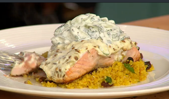 Michael Caines Moroccan salmon with saffron couscous ...