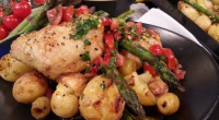 John Whaite served up Spring chicken with crushed new potatoes on today's episode of Lorraine. The ingredients are: 500g new potatoes, skin on, 8 skinless chicken thighs (bone in), 4...