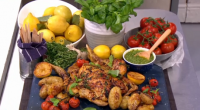 Dean Edwards served up lemon and thyme spatchcock chicken with pesto on today's episode of Lorraine. The ingredients are: 1 whole chicken, 2 tbsp olive oil, Few sprigs fresh thyme,...