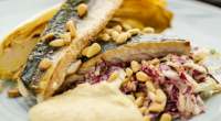 Tom Kerridge served up flash fried mackerel with chicory and caesar dressing on Sunday Brunch. The ingredients are: 2–3 tbsp olive oil, for cooking, 4 mackerel fillets, 1 large chicory...