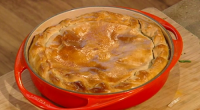 Donal Skehan spinach pie with ricotta cheese (torta pasqualina) on Saturday Kitchen. The ingredients for the dough are: 375g plain flour, plus extra for dusting, 1 tsp salt and 4...