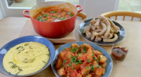 Matt Tebbutt served up a tapas feast that contained meatballs in tomato sauce, patatas bravas, polenta and churros with chocolate dipping sauce for the Wilkinsons family on Save Money: Good...