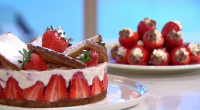 Phil Vickery served up a cheesecake with shortbread and British strawberries on This Morning. The ingredients are: 2 x cooked discs shortbread to fit into the tin or ring, 1...