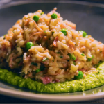 Simon Rimmer ham hock risotto with pea puree recipe on Eat the Week with Iceland