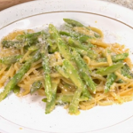 Theo's asparagus with linguine carbonara recipe on Yes Chef
