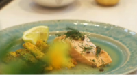 Nadia Sawalha served up a salmon in Prosecco with polenta and Parmesan courgettes on today's episode of Lorraine. The ingredients are: 4 tbsp unsalted butter, 2 shallots, thinly sliced, Salt...