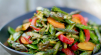 Nadiya Hussain served up a Indian five-spice vegetable stir-fry with asparagus on Nadiya's British Food Adventure. The ingredients are: 6 tbsp olive oil, 2 spring onions, sliced diagonally, 1 large...