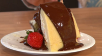 Simon Rimmer served up zuccotto, an Italian bowl cake on Sunday Brunch. The ingredients are: 2 shop bought madeira cakes, 90ml brandy, 60ml orange liquor, 150ml fresh orange juice, 100g...