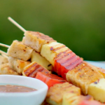 Nadiya Hussain halloumi and watermelon skewers with tamarind dip recipe