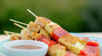 Nadiya Hussain served up halloumi and watermelon skewers with tamarind dip on Nadiya's British Food Adventure. The ingredients for the marinade are: 75ml olive oil, 1 tsp onion salt, 1...