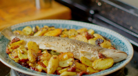 Nadiya Hussain served up whole baked sea trout with potatoes, lemon and sundried tomatoes on Nadiya's British Food Adventure. The ingredients are: 750g new potatoes, 1 small unwaxed lemon, sliced,...