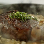 Jamie Oliver rib-eye steak with white beans and mushrooms recipe