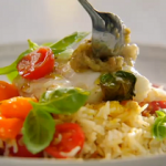 Jamie Oliver one-pan haddock with tapenade and rice recipe