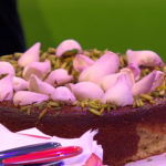 Nigella Lawson pear, pistachio and rose cake recipe on The One Show