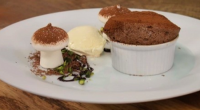 James Martin served up chocolate souffle with marshmallow meringue mushrooms on Saturday Morning with James Martin. The ingredients: butter for greasing and Caster sugar for lining. For the soufflé: 4...