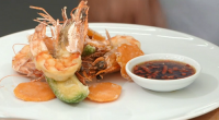 John Torode served up tempura prawns with vegetables and a dipping sauce on Celebrity Masterchef 2017.