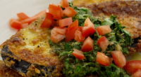Simon Rimmer served up aubergine schnitzel on today's episode of Sunday Brunch. The ingredients are: 2 aubergines, cut into 10-15mm thick slices (lengthways), 100g seasoned flour, 3 beaten eggs, 200g...