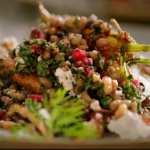Jamie Oliver warm carrot and grain salad with pomegranate recipe on Jamie's Quick and Easy Food