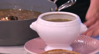 Phil Vickery served up French onion soup with brandy on This Morning. The ingredients are: 6 tbsp olive oil, 8 medium onions, very finely sliced, 1 tbsp castor sugar, 3...