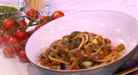 Gino served up a taste of Italy with his aubergine, courgette, cherry tomato and pasta dish on This Morning. see the recipe in Gino's new book titled: Gino's Italian Coastal...